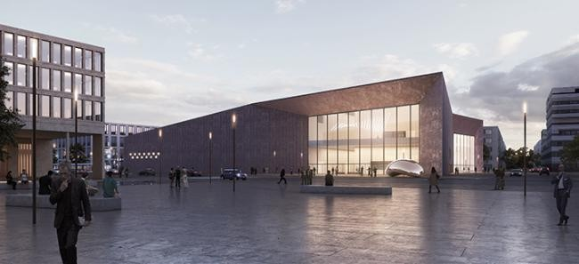 Conceptual design of the future conference centre in Heidelberg-Bahnstadt. (Copyright: Degelo architects)