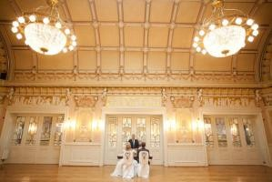 "Bride and groom in the ""Ballsaal"" (ballroom) of the Convention Center (Photo: Theresa Povilonis)"