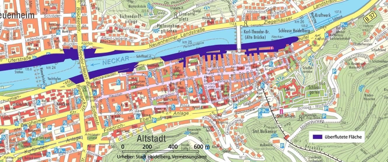 Heidelberg De Pegelstande Uberflutungszonen