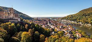 The castle in cheerful autumn colours: View of the castle, the old city and the river Neckar (Photo: Dittmer)