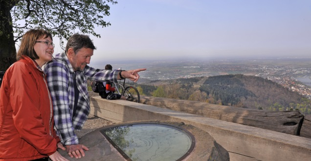 Identifying nearby landforms from the top of the Königstuhl hill (Photo: Dorn)